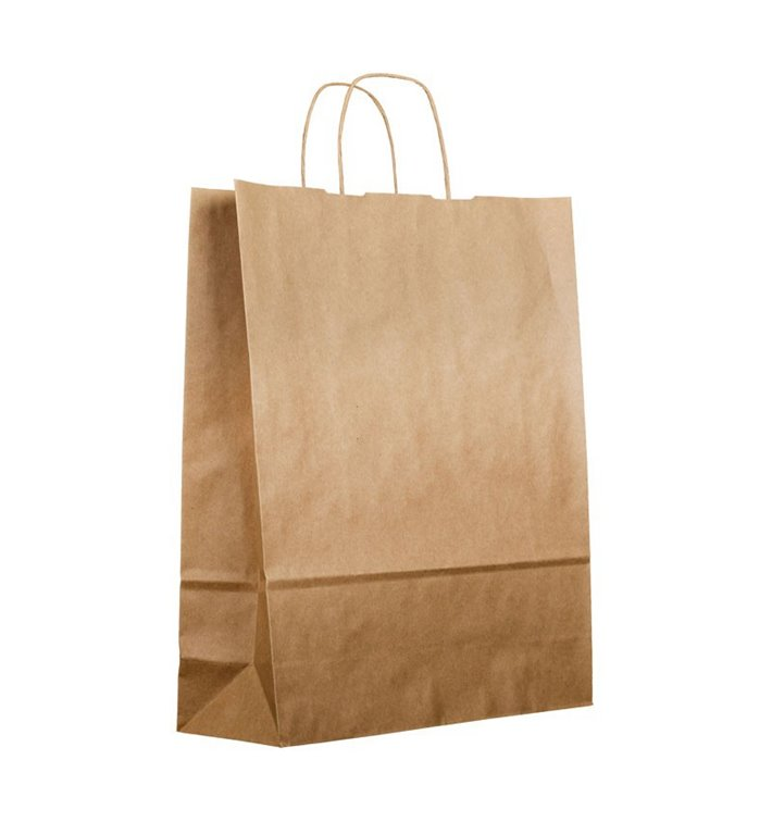 Buste Shopper in Carta Marrone 100g 44+15x46cm (200 Pezzi)