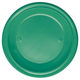 Piatto di Plastica PS Fondo Verde Ø220mm (30 Pezzi)