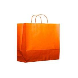 Buste Shopper in Carta Arancione 80g 20+10x29 cm (25 Pezzi)