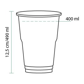 Bicchiere Plastica Glas PET Trasparente 490ml (60 Pezzi)