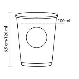 Bicchiere di Carta Eco PLA BioWare 4Oz/120ml Ø6,2cm (2000 Pezzi)
