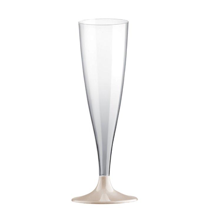Flute Plastica PS Riutilizzabile Gambo Bianco 140ml 2P (6 Pezzi)