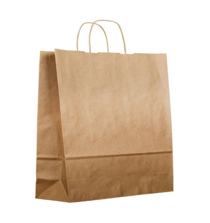 Buste Shopper in Carta Kraft 120g/m² 36+24x39cm (50 Pezzi)