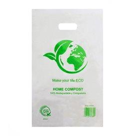 Sacchetti Plastica Manico Fustellato 100% Bio 20x33cm (100 Pezzi)