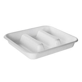 Contenitore per Tacos di canna da zucchero bianco 18,5x18,5cm (50 Pezzi)