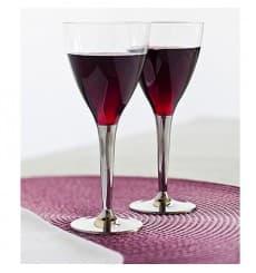 Calice di Plastica Vino Gambo Argento 130ml (10 Pezzi)