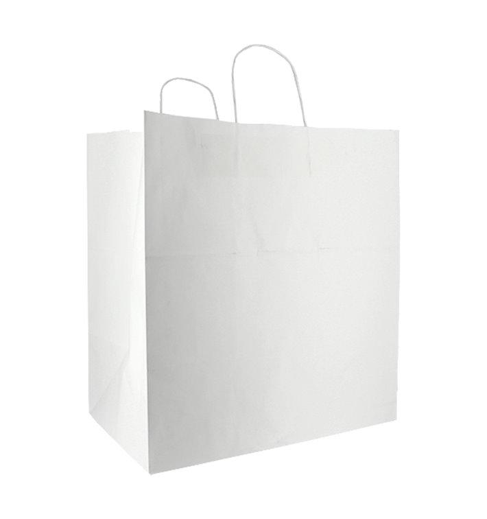 Buste Shopper in Carta Bianca 100g/m² 36+24x39cm (50 Pezzi)