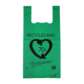 Sacchetto di Plastica Canottiera 70% Riciclato Verde 42x53cm 50µm (1.000 Pezzi)