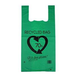 Sacchetto di Plastica Canottiera 70% Riciclato Verde 42x53cm 50µm (50 Pezzi)