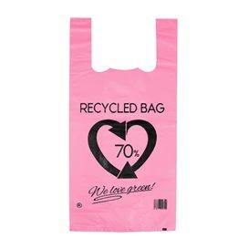 Sacchetto di Plastica Canottiera 70% Riciclato Rosa 42x53cm 50µm (50 Pezzi)