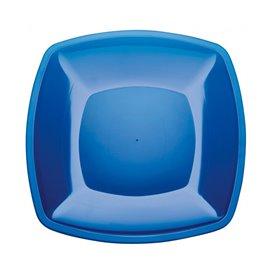 Piatto Plastica Piano Blu Trasp. Square PS 300mm (144 Pezzi)