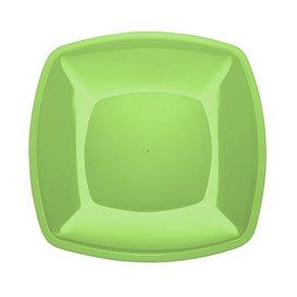 Piatto Plastica Piano Verde Acido Square PS 300mm (144 Pezzi)