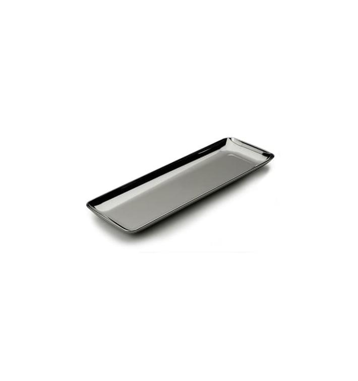 Vassoio Plastica Rettangolare Degustazione Argento 6x19 cm (20 Pezzi)