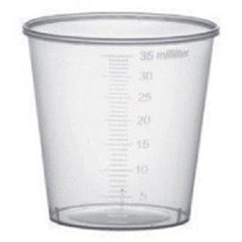 Bicchiere di Plastica Graduato PP Trasp. 35 ml (50 Pezzi)