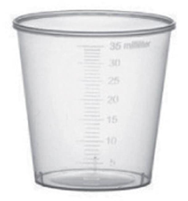 Bicchiere di Plastica Graduata PP Trasp. 35 ml (2000 Pezzi)