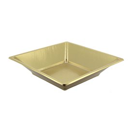 Piatto Plastica Fondo Quadrato Oro 180mm (5 Pezzi)
