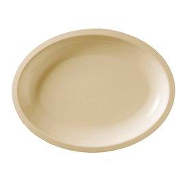 Vassoio Plastica Ovale Crema Round PP 255x190mm (50 Pezzi)
