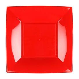 Piatto Plastica Piano Rosso Nice PP 180mm (25 Pezzi)