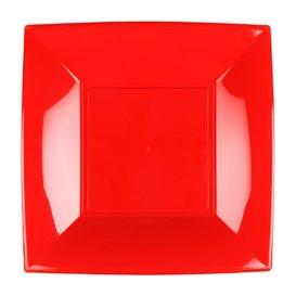 Piatto Plastica Piano Rosso Nice PP 230mm (25 Pezzi)