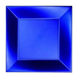 Piatto Plastica Piano Blu Nice Pearl PP 230mm (25 Pezzi)