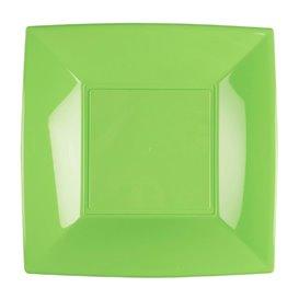 Piatto Plastica Piano Verde Acido Nice PP 180mm (25 Pezzi)