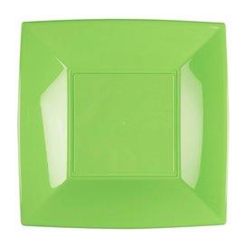 Piatto Plastica Piano Verde Acido Nice PP 230mm (25 Pezzi)