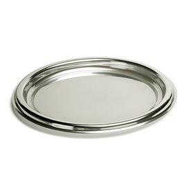 Vassoio di Plastica Catering Rotondo Argento 40 cm (5 Pezzi)