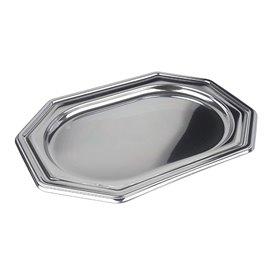 Vassoio di Plastica Ottagonale Argento 27x19 cm (5 Pezzi)