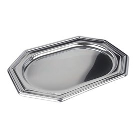 Vassoio di Plastica Ottagonale Argento 27x19 cm (50 Pezzi)