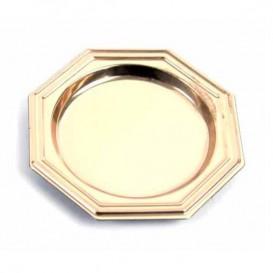 Piattino di Plastica Dessert Ottagonale Oro 8 cm (1000 Pezzi)
