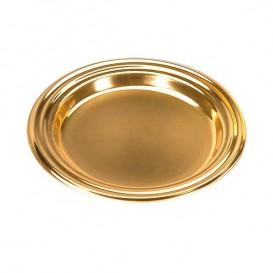 Piattino di Plastica Dessert Tondo Oro 8 cm (125 Pezzi)