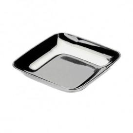 Piattino Plastica  Degustazione Quadrato Argento 6x6x1 cm (200 Pezzi)