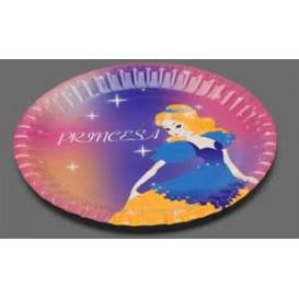 """Piatto di Carta Disegno """"Principessa"""" 23 cm (8 Pezzi)"""