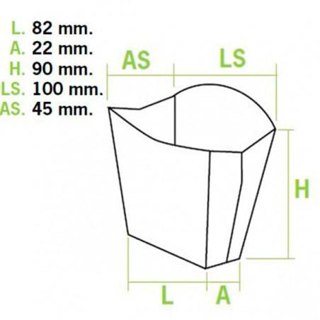 Scatola per Fritte Piccolo 8,2x3,1x9cm (50 Pezzi)