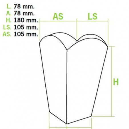Scatola Pop Corn Mediano Bianca 90 gr 7,8x10,5x18cm (350 Pezzi)