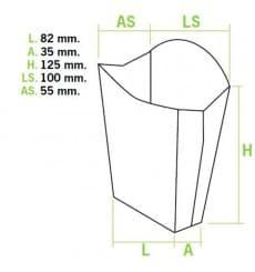 Scatola per Fritte Mediano 8,2x3,5x12,5cm (500 Pezzi)