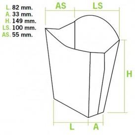 Scatola per Fritte Grande 8,2x3,3x14,9cm (25 Pezzi)