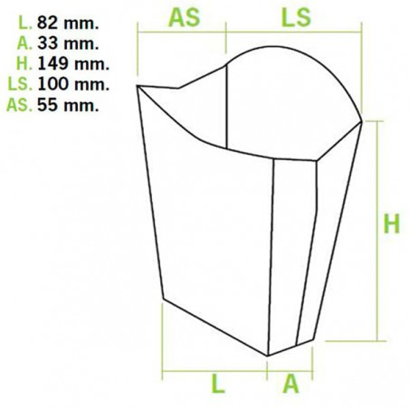 Scatola per Fritte Grande  8,2x3,3x14,9cm (40 Pezzi)
