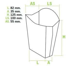 Scatola per Fritte Mediano 8,2x3,5x12,5cm (50 Pezzi)