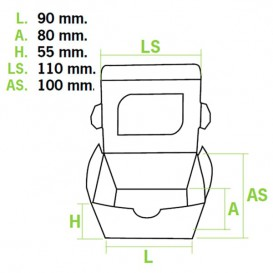 Contenitore di Carta Premium 11x10x5,5cm 400ml (500Pezzi)