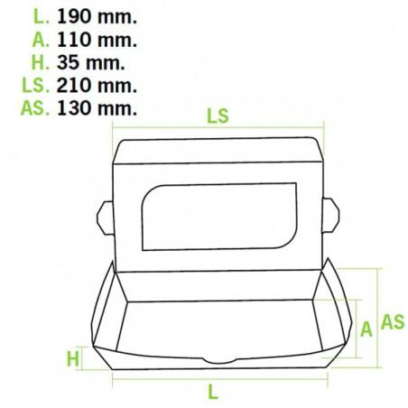 Contenitore di Carta Premium 21x13x3,5cm 730ml (300 Pezzi)