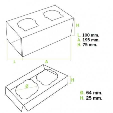 Scatola 2 Cupcakes con Inserto 19,5x10x7,5cm Blu (20 Pezzi)