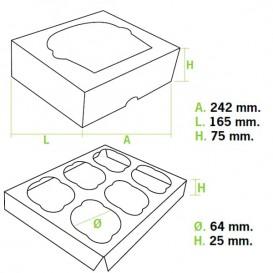 Scatola 6 Cupcakes con Inserto 24,3x16,5x7,5cm Bianco (100 Pezzi)