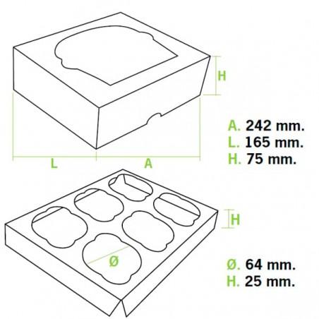 Scatola 6 Cupcakes con Inserto 24,3x16,5x7,5cm Bianco (20 Pezzi)