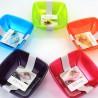 Ciotola di Plastica Quadrata Turchese 14x14cm (4 Pezzi)
