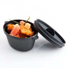 MiniCiotola Degustazione nero con coperchio 9,1x5,8cm 65ml (6 Pezzi)