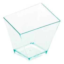 """Miniciotola di Plastica Quadrata Degustazione """"Water Green"""" PS 5,6x5,6cm (12 Pezzi)"""