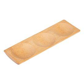 Vassoietto di Bambù a Tre Scomparti 18x5,5x1cm (12 Pezzi)